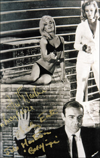 GOLDFINGER MOVIE CAST - AUTOGRAPHED SIGNED PHOTOGRAPH CO-SIGNED BY: HONOR BLACKMAN, SHIRLEY EATON