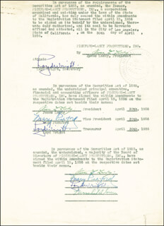 MARY PICKFORD - DOCUMENT MULTI-SIGNED 04/30/1936 CO-SIGNED BY: JESSE L. LASKY, LOYD WRIGHT