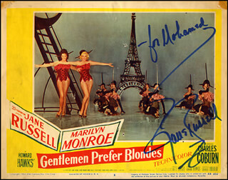 JANE RUSSELL - INSCRIBED LOBBY CARD SIGNED