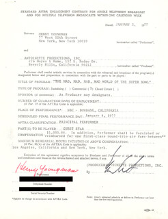 HENNY YOUNGMAN - DOCUMENT SIGNED 01/03/1977
