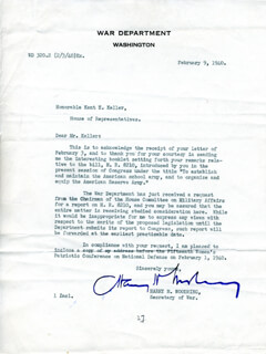 HARRY HINES WOODRING - TYPED LETTER SIGNED 02/09/1940