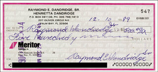 RAY DANDRIDGE - AUTOGRAPHED SIGNED CHECK 12/10/1989
