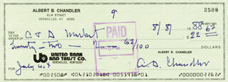 ALBERT B. HAPPY CHANDLER - AUTOGRAPHED SIGNED CHECK 08/08/1988