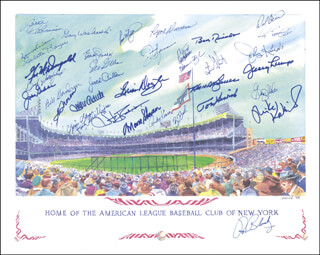 THE NEW YORK YANKEES - ILLUSTRATION SIGNED CIRCA 1998 CO-SIGNED BY: ELLIOTT MADDOX, DICK DUCKY SCHOFIELD SR., BILLY GARDNER, BILL MOOSE SKOWRON, CLETE BOYER, RYNE DUREN, BILL ROBINSON, BOBBY RICHARDSON, SPECS THE NAUGATUCK NUGGET SHEA, DALE BERRA, IRV NOREN, JIM SPENCER, BRIAN DOYLE, GIL McDOUGALD, TOMMY HENRICH, RON BLOMBERG, NORM SIEBERN, JAKE GIBBS, GRAIG NETTLES, JOHNNY KUCKS, JERRY LUMPE, MIKE KEKICH, ANDY KOSCO, HANK BAUER, GARY WASLEWSKI, JACK CULLEN, MIKE ALDRETE, JACK PHILLIPS