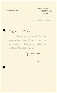 Autographs: PRIME MINISTER WINSTON S. CHURCHILL (GREAT BRITAIN) - TYPED LETTER SIGNED 06/25/1935