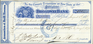 A. OAKEY HALL - AUTOGRAPHED SIGNED CHECK 08/08/1871 CO-SIGNED BY: RICHARD B. CONNOLLY, J. B. TOUNY, MICHAEL NORTON
