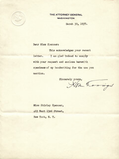 HOMER S. CUMMINGS - TYPED LETTER SIGNED 03/30/1937