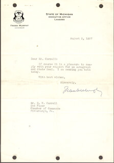 Autographs: ASSOCIATE JUSTICE FRANK MURPHY - TYPED LETTER SIGNED 08/03/1937