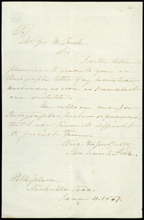 FIRST LADY SARAH C. POLK - AUTOGRAPH LETTER SIGNED 06/11/1857