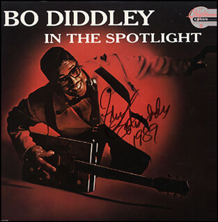 BO DIDDLEY - RECORD ALBUM COVER SIGNED 1989