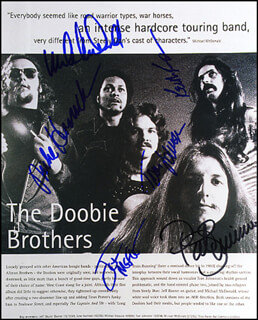 THE DOOBIE BROTHERS - AUTOGRAPHED SIGNED PHOTOGRAPH CO-SIGNED BY: THE DOOBIE BROTHERS (PAT SIMMONS), MICHAEL McDONALD, THE DOOBIE BROTHERS (TOM JOHNSTON), THE DOOBIE BROTHERS (MIKE HOSSACK), THE DOOBIE BROTHERS (KEITH KNUDSEN), THE DOOBIE BROTHERS (JOHN McFEE)
