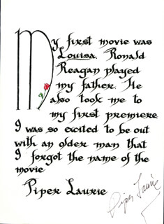 PIPER LAURIE - QUOTATION SIGNED