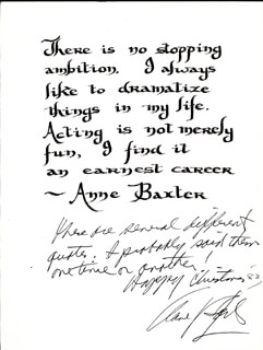 ANNE BAXTER - AUTOGRAPH NOTE SIGNED 1983