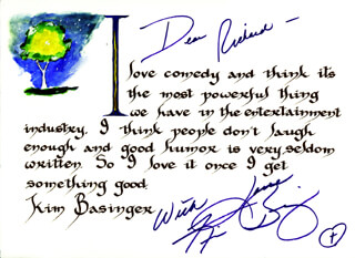 KIM BASINGER - INSCRIBED QUOTATION SIGNED