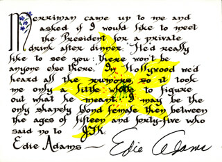 Autographs: EDIE ADAMS - QUOTATION SIGNED