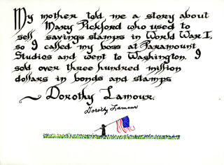 DOROTHY LAMOUR - QUOTATION SIGNED