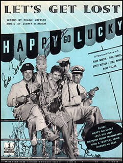 HAPPY GO LUCKY MOVIE CAST - SHEET MUSIC SIGNED CIRCA 1943 CO-SIGNED BY: EDDIE BRACKEN, BETTY HUTTON
