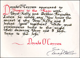 DONALD O'CONNOR - QUOTATION SIGNED
