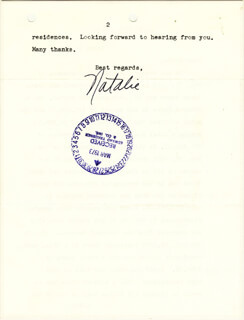 NATALIE WOOD - TYPED LETTER SIGNED 03/21/1973