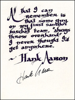 Autographs: HANK AARON - QUOTATION SIGNED