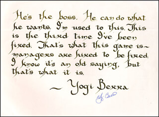 YOGI BERRA - QUOTATION SIGNED