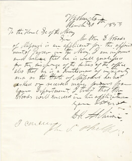 Autographs: DAVID R. ATCHISON - AUTOGRAPH LETTER SIGNED 03/30/1853 CO-SIGNED BY: GOVERNOR JOHN S. PHELPS