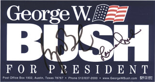 Autographs: PRESIDENT GEORGE W. BUSH - EPHEMERA SIGNED CO-SIGNED BY: FIRST LADY LAURA BUSH