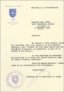 PRESIDENT JOSEPH KASAVUBU (DEMOCRATIC REPUBLIC OF THE CONGO) - TYPED LETTER SIGNED 11/10/1960