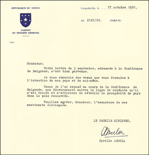 Autographs: PRIME MINISTER CYRILLE ADOULA (CONGO) - TYPED LETTER SIGNED 10/17/1961