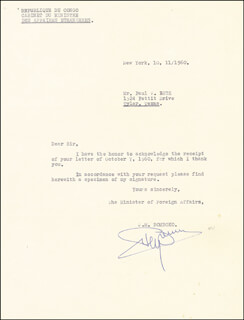 JUSTIN M. BOMBOKO - TYPED LETTER SIGNED 10/11/1960
