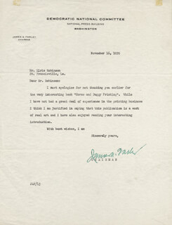 Autographs: JAMES A. FARLEY - TYPED LETTER SIGNED 11/16/1939