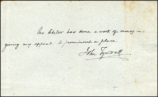 JOHN TYNDALL - AUTOGRAPH NOTE SIGNED