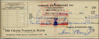 TOMMY DORSEY - AUTOGRAPHED SIGNED CHECK 01/23/1951