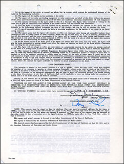 BENNY GOODMAN - DOCUMENT SIGNED 12/07/1966
