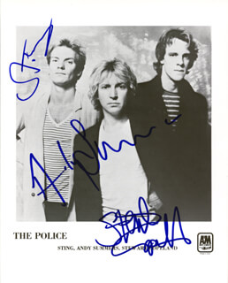 THE POLICE - AUTOGRAPHED SIGNED PHOTOGRAPH CO-SIGNED BY: STING (GORDON SUMNER) , THE POLICE (STEWART COPELAND), THE POLICE (ANDY SUMMERS)