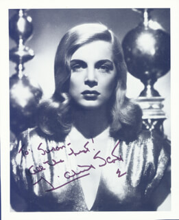 LIZABETH SCOTT - INSCRIBED BOOK PHOTOGRAPH SIGNED