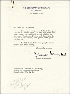Autographs: JAMES FORRESTAL - TYPED LETTER SIGNED 03/15/1946