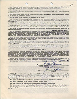 WALTER BRENNAN - DOCUMENT SIGNED 12/09/1950