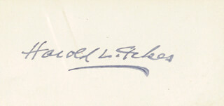 HAROLD L. ICKES - AUTOGRAPH