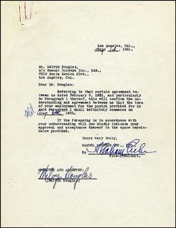 MELVYN DOUGLAS - DOCUMENT SIGNED 08/07/1931