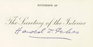 HAROLD L. ICKES - PRINTED CARD SIGNED IN INK