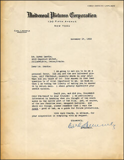 CARL LAEMMLE SR. - TYPED LETTER SIGNED 11/17/1933