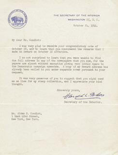 Autographs: HAROLD L. ICKES - TYPED LETTER SIGNED 10/24/1944