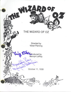 WIZARD OF OZ MOVIE CAST - SCRIPT SIGNED CIRCA 1963 CO-SIGNED BY: MARGARET PELLEGRINI, TINY DOLL