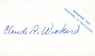 Autographs: CLAUDE R. WICKARD - PRINTED CARD SIGNED IN INK