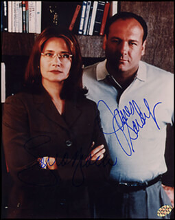 THE SOPRANOS TV CAST - AUTOGRAPHED SIGNED PHOTOGRAPH CO-SIGNED BY: LORRAINE BRACCO, JAMES GANDOLFINI