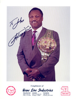 JOE SMOKIN JOE FRAZIER - INSCRIBED PRINTED PHOTOGRAPH SIGNED IN INK