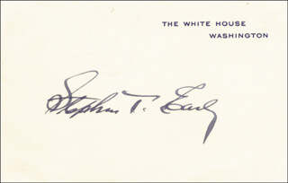 Autographs: STEPHEN T. EARLY - WHITE HOUSE CARD SIGNED