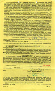 INGEMAR JOHANSSON - DOCUMENT SIGNED 09/25/1959