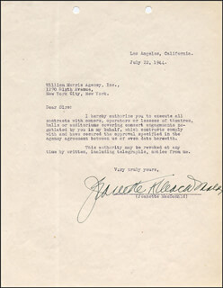 JEANETTE MacDONALD - TYPED LETTER SIGNED 07/22/1944